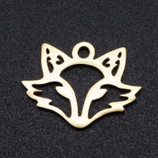 rozsdamentes acél rókafej medál arany színű