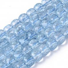 K9 kristály áttetsző világoskék fazettált kocka 5 db