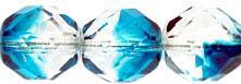 csiszolt gyöngy 10 mm: capri blue-kristály 5 db