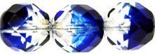 csiszolt gyöngy 12 mm: kobaltkék-kristály 4 db