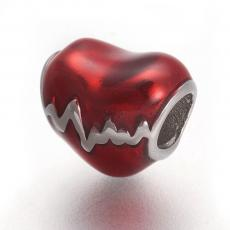 rozsdamentes acél piros szív köztes 1 db