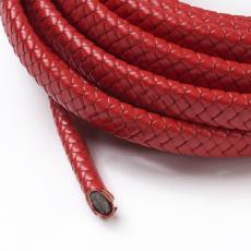 12x6 mm fonott bőr karkötő alap piros 1 cm