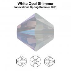 bicone 3 mm: white opal shimmer