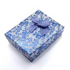 ajándékdoboz: kék metálfényű virágos