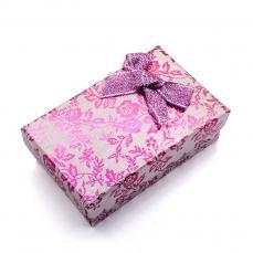 ajándékdoboz: fukszia metálfényű virágos