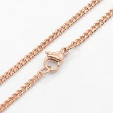 rose gold színű rozsdamentes acél szemes lánc 50 cm