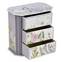 fiókos ékszertartó doboz rózsás-levendulás