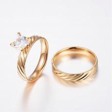 rozsdamentes acél arany színű cirkonia köves gyűrű két darabos 6-os méret