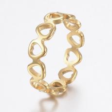rozsdamentes acél arany színű szivecskés gyűrű 7-es méret