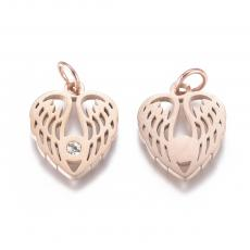 rose gold színű szárnyak cirkonia köves medál rozsdamentes acél