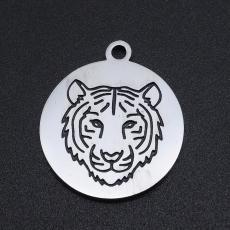 rozsdamentes acél kerek medál tigris