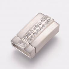 rozsdamentes acél mágneses kapcsoló strasszos 12 x 4 mm