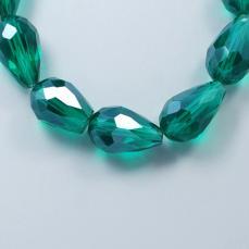 csepp alakú gyöngy 11 mm: áttetsző sötétzöld lüszteres 10 db