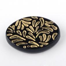 akril ovális gyöngy fekete arany mintával 2 db
