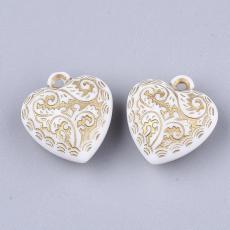 akril szív függő fehér arany mintával 2 db