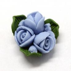 porcelán kabochon kék rózsák