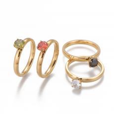 rozsdamentes acél arany színű cirkonia köves gyűrű 7-es méret kristály köves