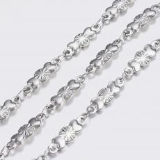 platinum színű rozsdamentes acél virág+2szív lánc 1 m