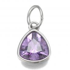 rozsdamentes acél cirkonia háromszög medál 1 db lila
