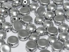 matt ezüst kétlyukú cabochon 6 mm 10 db