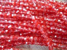 csiszolt gyöngy 6 mm bordóspiros-kristály 25 db