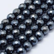 fazettált sötétszürke szintetikus hematit gyöngy 6 mm szál