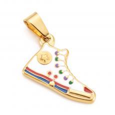 arany színű rozsdamentes acél színes tornacipő medál 1 db medáltartóval