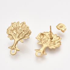 arany színű fa bedugós fülbevaló alap 1 pár rozsdamentes acél