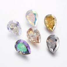 cirkonia csepp formájú kabochon kristály AB 14 mm