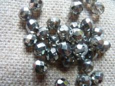 csiszolt gyöngy 6mm kristály-króm 25 db