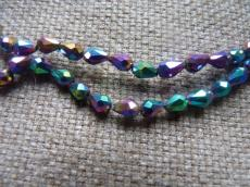 csepp alakú gyöngy 6 mm: metál irizáló lila 10 db másodosztályú