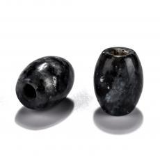 fekete labradorit/larvikit hordó gyöngy 1 db