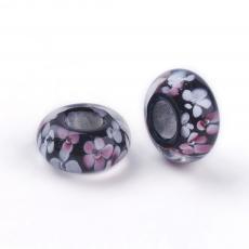 nagy lyukú gyöngy rózsaszín-fehér-fekete virágos