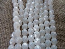 csiszolt gyöngy 6 mm opál szürkésfehér 25 db
