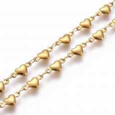 arany színű rozsdamentes acél szív lánc 1 m