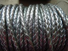 4 mm fonott bőrszál metál sötét ezüst 1 cm