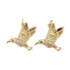 cirkonia köves medál: kolibri arany színű