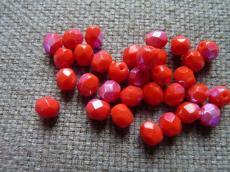 csiszolt gyöngy 6 mm telt piros AB 25 db