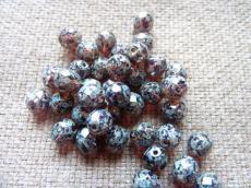 csiszolt gyöngy 8 mm ametiszt-travertin 20 db