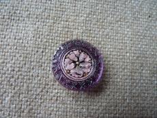 Cseh üveggomb mandala lila-rózsaszín 22 mm