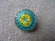 Cseh üveggomb mandala türkizkék-sárga 22 mm
