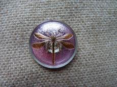 Cseh üveggomb szitakötős lila-arany