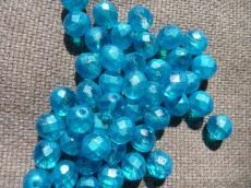 csiszolt gyöngy 10 mm: türkizkék wax 5 db