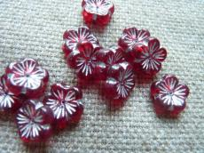 virág alakú gyöngy bordó-ezüst 5 db daisy