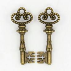 antik réz kulcs fityegő 3 db