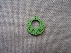 famedál: zöld filigrán virágos kerek