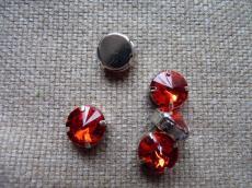 akril fűzhető foglalatos rivoli piros 12 mm