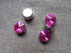 akril fűzhető foglalatos rivoli pink 12 mm