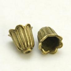 gyöngykupak: harangvirág alakú antik réz 10 db