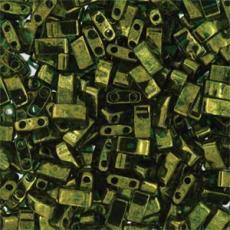 miyuki half tila olive green gold luster kb. 2,5 g